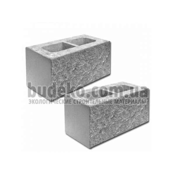 Блок пустотный заборный 390х190х190, с колотой стороной
