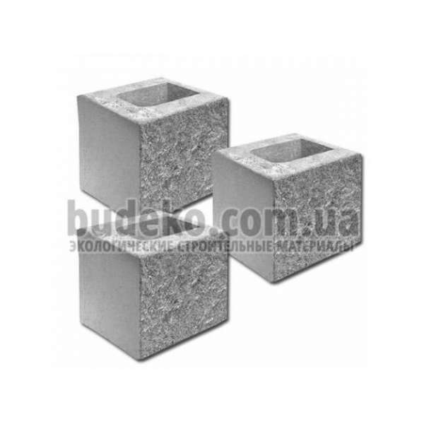 Блок пустотный заборный с одно колотой стороной 190х190х190