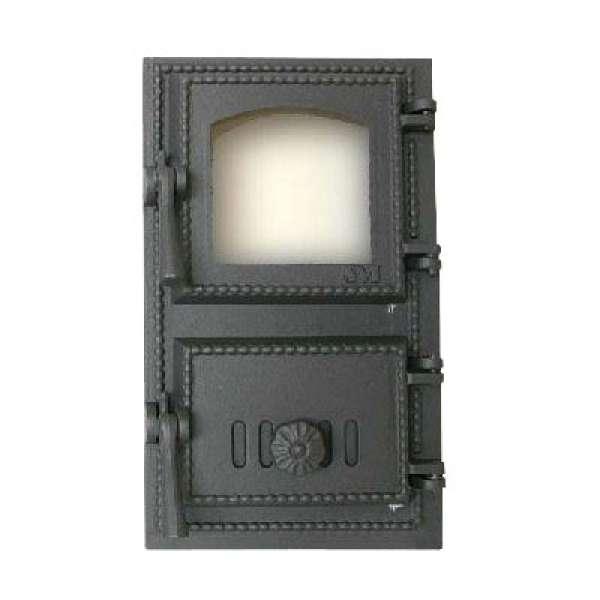 Печная дверца (люк топки) SVT 431 со стеклом, 385х230 мм