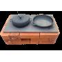 """Плита чугунная двухконфорочная, большая с узором """"Булат"""", 710х410 мм"""