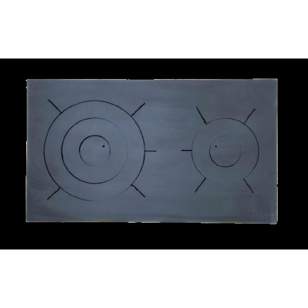 Стальная плита для печи, двухконфорочная 710х410 мм