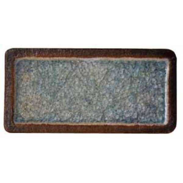 Шамотная плитка со стеклом голубая, прямоугольная