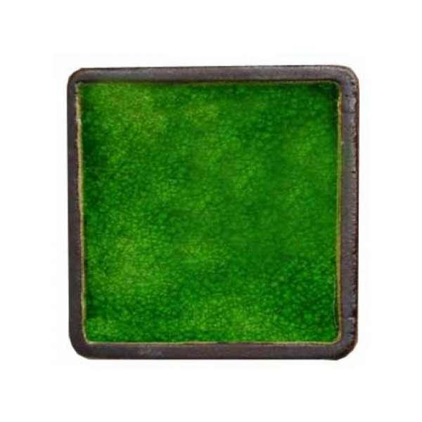 Шамотная плитка со стеклом зеленая 95х95 мм.