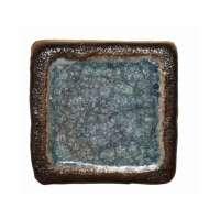 Шамотная плитка со стеклом голубая 95х95 мм.