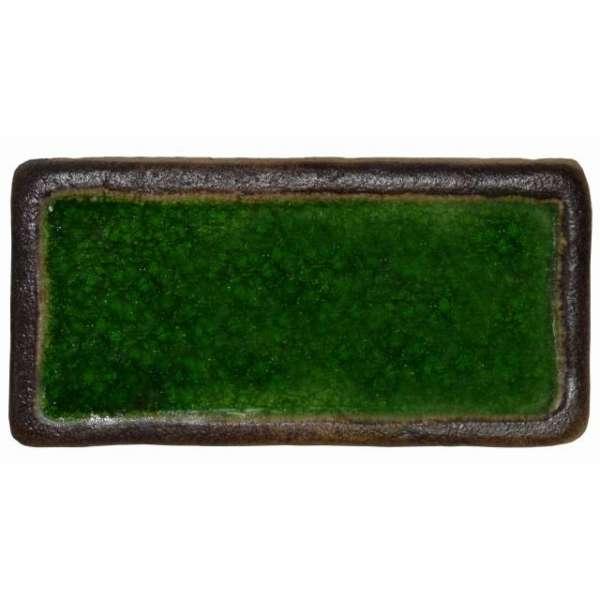 Шамотная плитка со стеклом зеленая 195х95 мм.