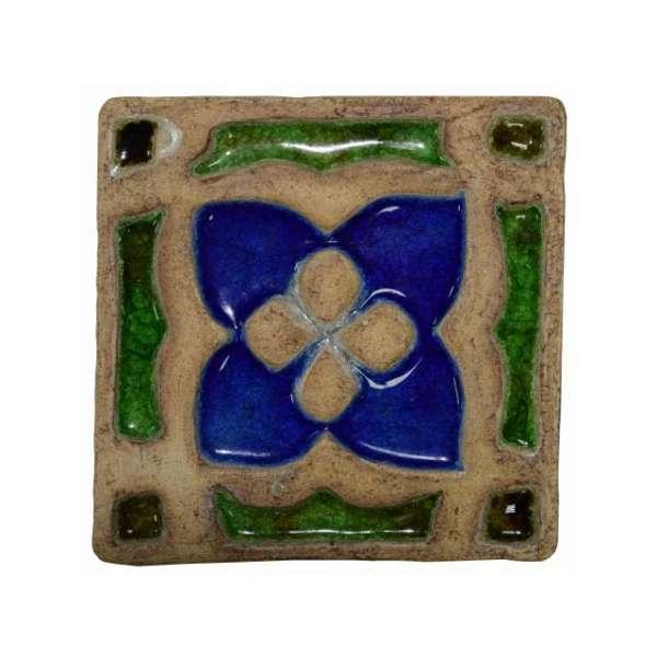 Декоративная шамотная плитка со стеклом «Цветок» 195х195