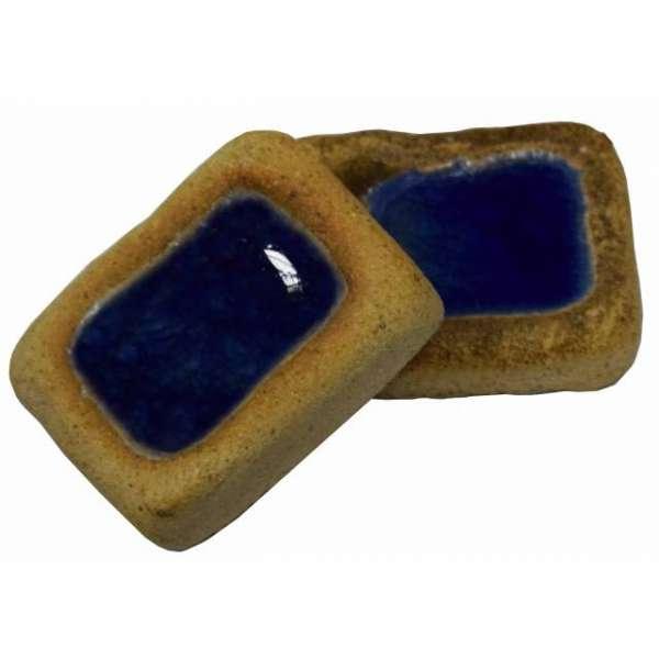 Шамотная плитка со стеклом синяя