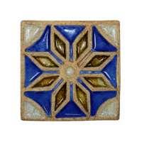 Декоративная шамотная плитка со стеклом «Звезда» 195х195