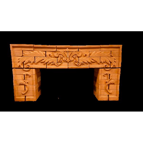Керамический каминный портал с художественной резьбой