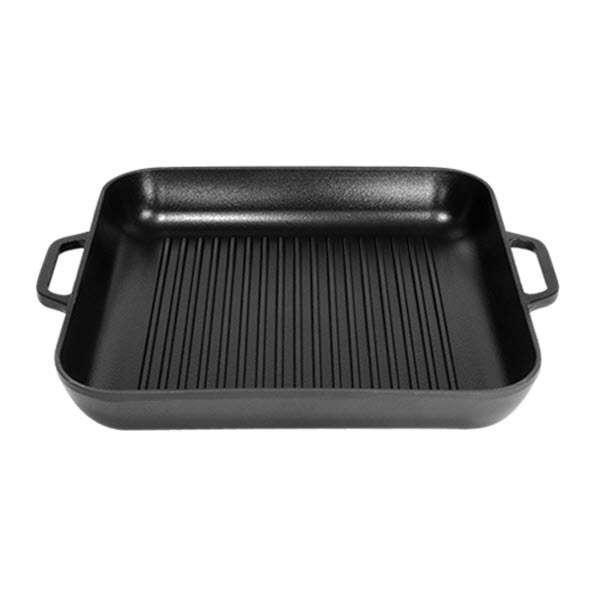 Чугунная квадратная сковорода-гриль матовая Ситон 280х280 мм