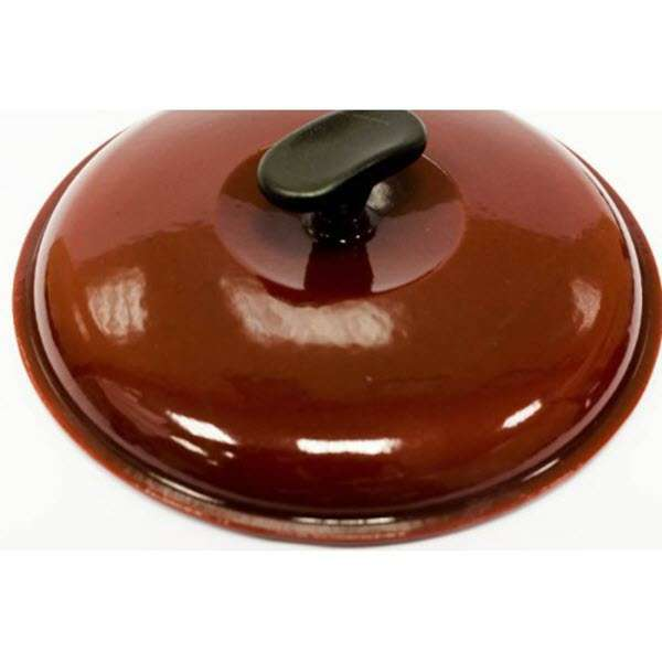 Чугунная крышка глянцевая бордового цвета Ситон Ø 260 мм